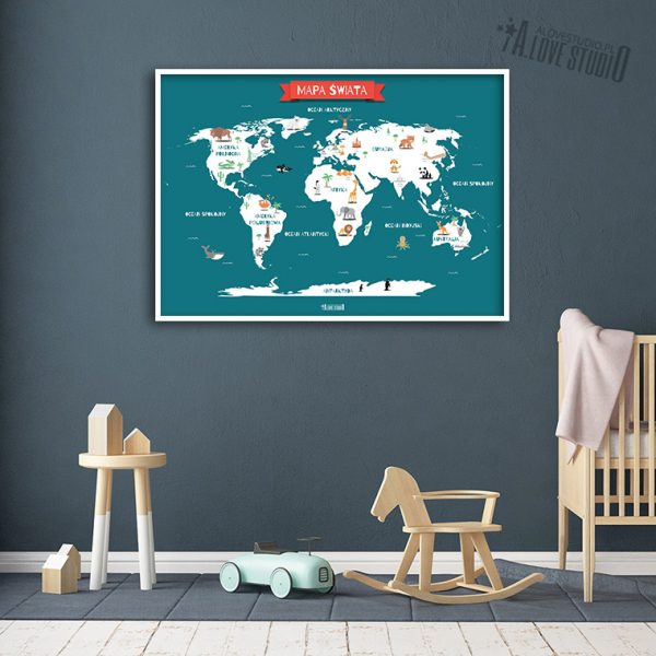 Mapa świata plakat dla dzieci kontynenty alovestudio pl 3