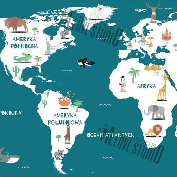 Mapa świata plakat dla dzieci kontynenty alovestudio pl 5