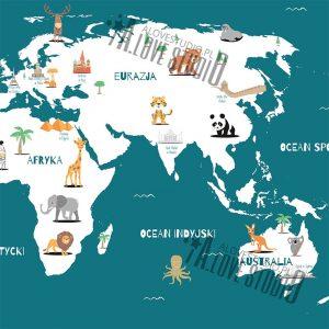 Mapa świata plakat dla dzieci kontynenty alovestudio pl 6