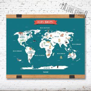 Mapa Świata plakat dla dzieci kontynenty laminat alovestudio 1