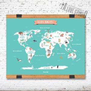 Mapa Świata plakat dla dzieci kontynenty laminat mięta alovestudio 1