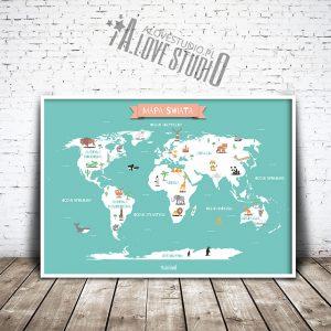 Mapa świata plakat mięta dla dzieci kontynenty alovestudio pl 1