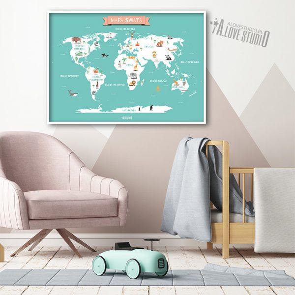 Mapa świata plakat mięta dla dzieci kontynenty alovestudio pl 2