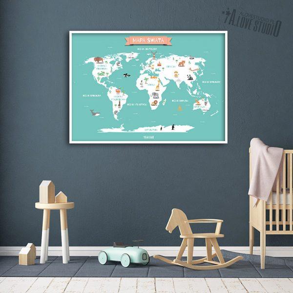 Mapa świata plakat mięta dla dzieci kontynenty alovestudio pl 3