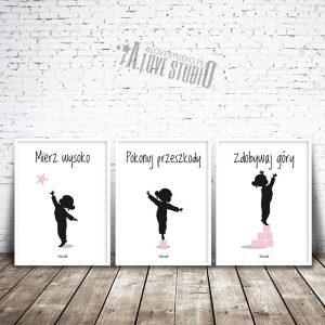 Plakaty obrazki dla dzieci mierz wysoko dziewczynka róż 1