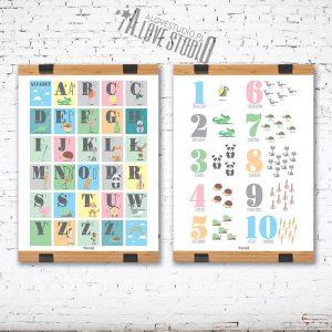 Alfabet dla dzieci abecadło cyferki liczby plakat laminat alovestudio pl 1