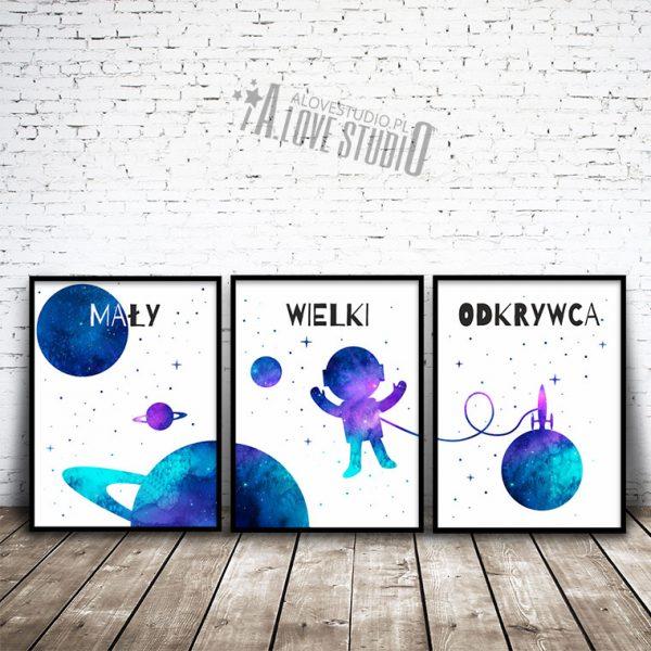 Plakaty tryptyk kosmonauta kosmos astronauta gwiazdy alovestudio 1
