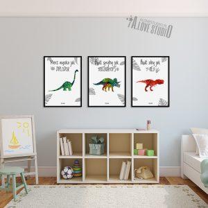 Plakatu obrazki dla dzieci dinozaury diplodok triceratops t-rex alovestudio pl