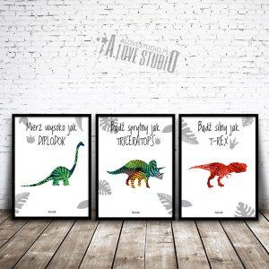 Plakatu obrazki dla dzieci dinozaury diplodok triceratops t-rex alovestudio