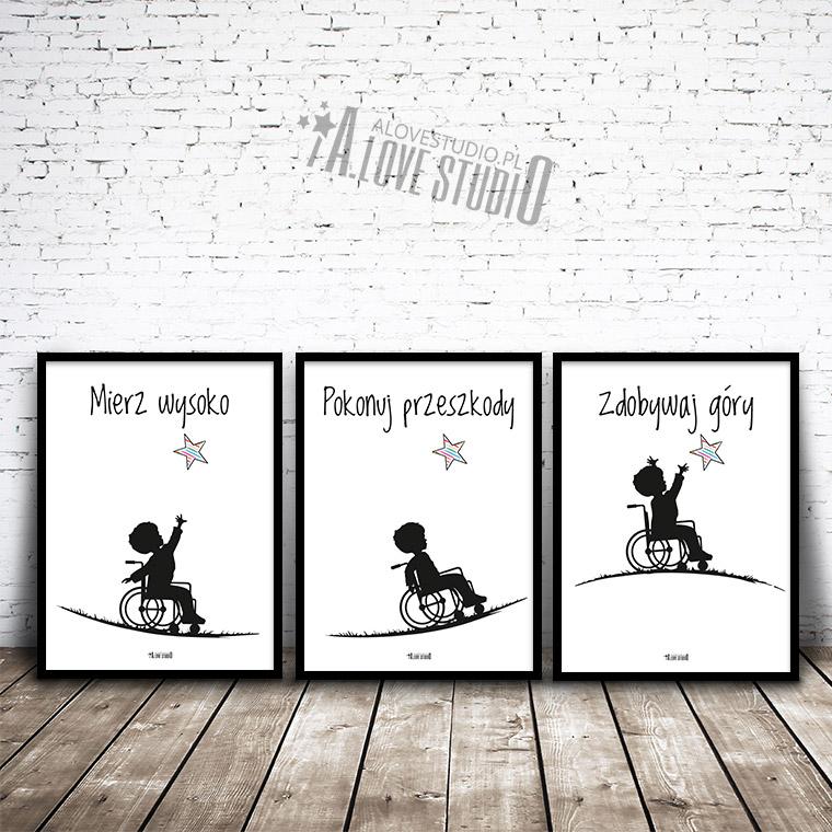 plakaty dla dzieci chłopiec na wózku inwalidzkim alovestudio pl