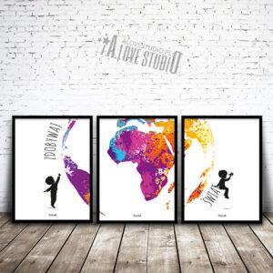 www.alovestudio.pl plakaty do pokoju dziecka podróżnicze podróż zdobywaj świat