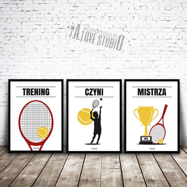 www.alovestudio.pl plakaty obrazki sportowe tenis dla dzieci mały tenisista na ścianę 1