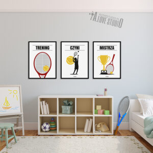 www.alovestudio.pl plakaty obrazki sportowe tenis dla dzieci mały tenisista na ścianę 2