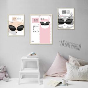 www.alovestudio.pl plakaty dekoracje do pokoju dziewczynki obrazek plakat lis lama szop 2