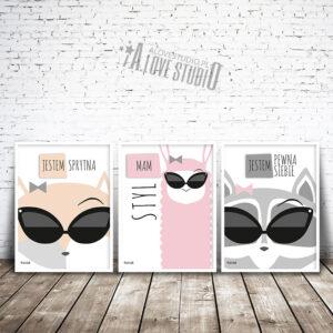www.alovestudio.pl plakaty dekoracje do pokoju dziewczynki obrazek plakat lis lama szop