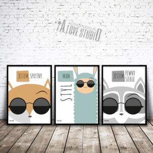 www.alovestudio.pl plakaty obrazki dla dzieci lis obrazek plakat lama szop