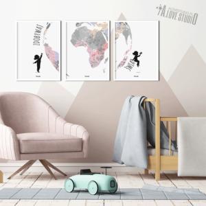www.alovestudio.pl plakaty swiat mała podróżniczka zdobywaj świat do pokoju dziewczynki 2