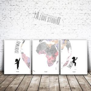 www.alovestudio.pl plakaty swiat mała podróżniczka zdobywaj świat do pokoju dziewczynki